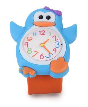 Analog Wrist Watch Penguin Shape Dial - Blue Orange