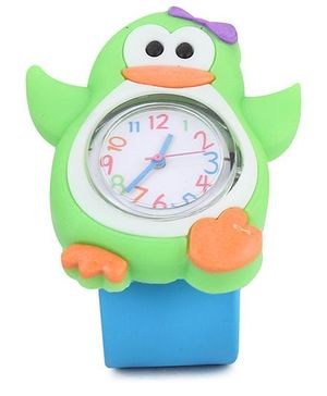 Analog Wrist Watch Penguin Shape Dial - Blue Green