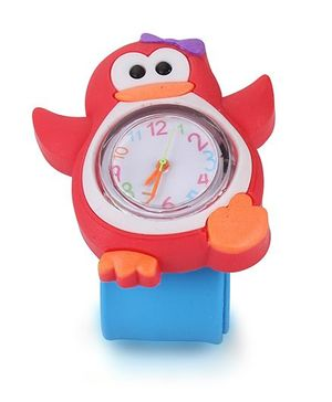 Analog Wrist Watch Penguin Shape Dial - Blue Red