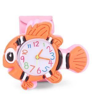 Analog Wrist Watch Fish Shape Dial - Orange Pink