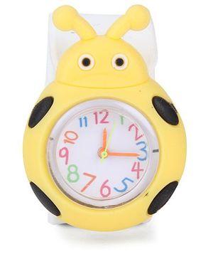 Analog Wrist Watch Beetle Shape - Yellow White