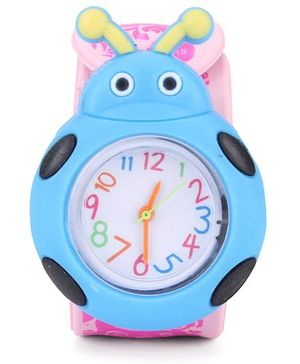 Analog Wrist Watch Beetle Shape - Pink Blue