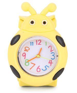 Analog Wrist Watch Beetle Shape - Yellow