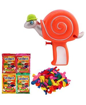 DealBindaas Holi Water Tortoise Shape Squirter With Gulaal Assorted Colour