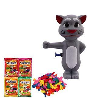DealBindaas Holi Water Pichkari Cat Squirter 504 With Gulaal Balloons Assorted Colour