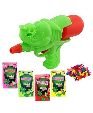 DealBindaas Holi Water Elephant Shape Squirter With Gulaal Balloons Assorted Colour