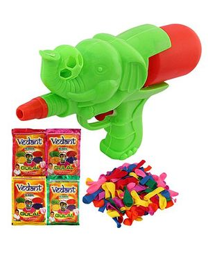 DealBindaas Holi Water Elephant Squirter With Gulaal Balloons Assorted Colour