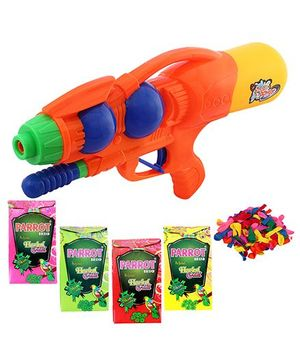 DealBindaas Holi Water Squirter 1304 With Gulaal Balloons Assorted Colour
