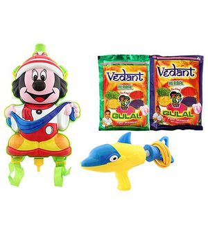 DealBindaas Holi Water Pichkari Back Pack Tank Squirter 6408 With Gulal 2 Assorted Color