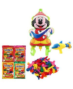 DealBindaas Holi Water Pichkari Back Pack Tank Squirter 6408 With Gulal 4 Assorted Color & Balloons