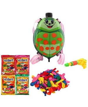 DealBindaas Holi Water Pichkari Back Pack Zoo Tank Squirter With 4 Pack Of Gulal Assorted Color & Balloons