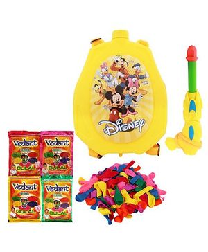 DealBindaas Holi Water Pichkari Back Pack Cartoon Tank Squirter F13 With 4 Assorted Gulal Color & Balloons