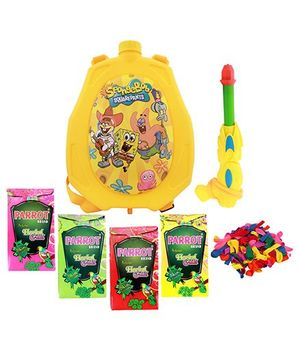 DealBindaas Holi Water Pichkari Back Pack Cartoon Tank Squirter F16 With 2 Assorted Colors Of Gulal & 1 Packet Of Balloons