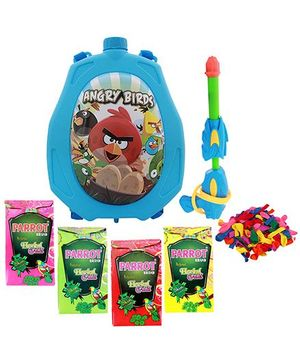 DealBindaas Holi Water Pichkari Back Pack Cartoon Tank Squirter F18 With 2 Assorted Colors Of Gulal & 1 Packet Of Balloons