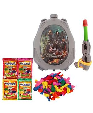 DealBindaas Holi Water Pichkari Back Pack Cartoon Tank Squirter F19 With 2 Assorted Colors Of Gulal & Balloons