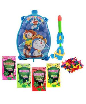 Dealbindaas Holi Water Pichkari Back Pack Cartoon Tank Squirter F2 With 4 Assorted Colors Of Gulal & Balloons