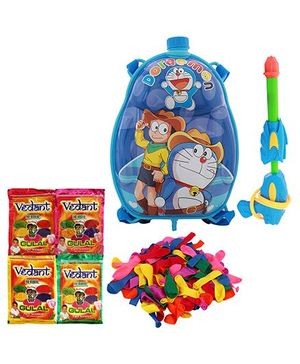 Dealbindaas Holi Water Pichkari Back Pack Cartoon Tank Squirter F2 With 4 Assorted Colors Of Gulal & 1 Packet Of Balloons
