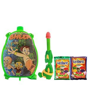 DealBindaas Holi Water Pichkari Back Pack Cartoon Tank Squirter F25 With 2 Assorted Colors Of Gulal