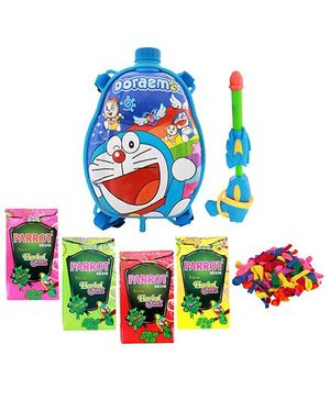 DealBindaas Holi Water Pichkari Back Pack Cartoon Tank Squirter F27 With 4 Assorted Colors Of Gulal & 1 Packet Of Balloons