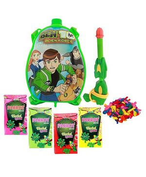 DealBindass Holi Pichkari Backpack Ben 10 Tank Squirter With Tota Gulal And Balloons - Assorted Colors
