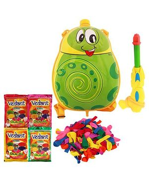 DealBindaas Holi Pichkari Backpack Barbie Tank Squirter With Herbal Gulal And Balloons - Assorted Colors