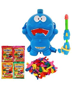 DealBindaas Holi Pichkari Backpack Tank Squirter With Gulal And Balloons - Assorted Colors