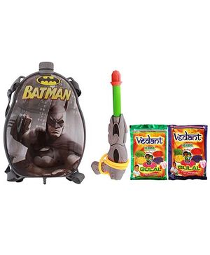 DealBindaas Batman Holi Pichkari Backpack Tank Squirter With Gulal Assorted Color