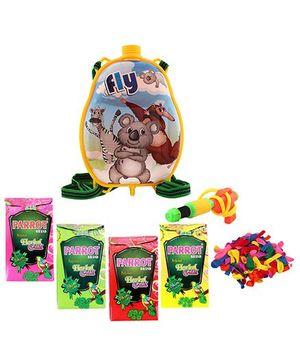 DealBindaas Holi Pichkari Backpack Tank Squirter With Tota Gulal And Balloons - Assorted Colors