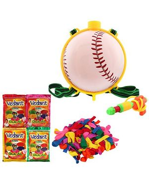 DealBindaas Tennis Ball Pichkari Backpack Tank Squirter With Gulal And Balloons - Assorted Colors