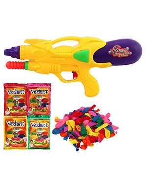 DealBindaas Holi Pichkari Water Gun With Gulal And Balloons - Assorted Colors