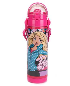 Barbie Thermo Push Button Water Bottle - Pink And Blue