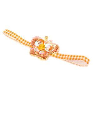 Princessories By Sachi Goenka Checkered Headband With Butterfly Motif - Orange