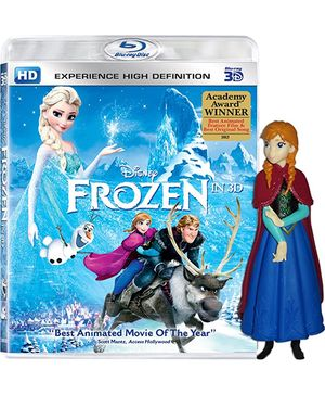 Disney Frozen with Anna Figurine 3D Blue Ray DVD - English