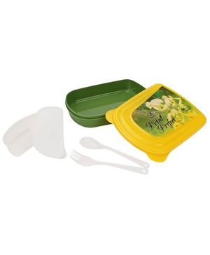 Cello Homeware Lunch Box Petal Perfect Print - Yellow And Green