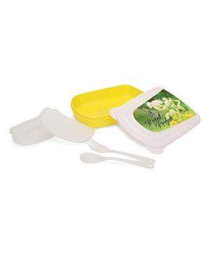 Cello Homeware Lunch Box Petal Perfect Print - yellow And White
