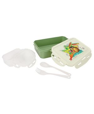 Cello Homeware Lunch Box Yummy Tummy Print - Geen And White