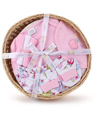 Mee Mee Clothing Gift Set In A Basket Pack Of 8 - Pink
