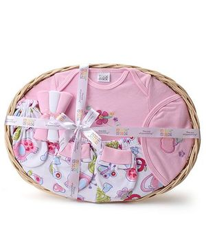 Mee Mee Clothing Gift Set In A Basket Floral Embroidery Pack Of 8 - Pink
