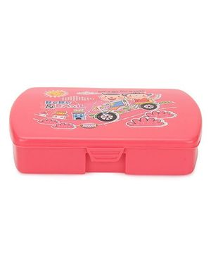 Jewel Printed Square Tiffin Box - Pink