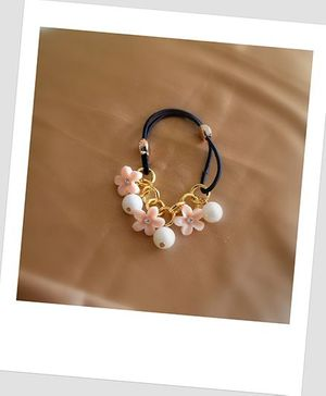Pretty Ponytails Flowers Pearls Rubber Band - Gold & Off White