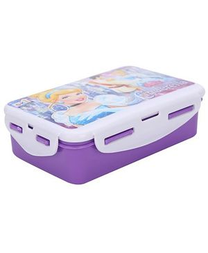 Disney Princess Cinderella Print Lock & Seal Lunch Box Purple - 550 ml