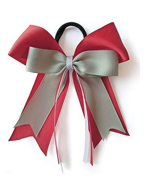 Keira's Pretties Cheer Bow Pony Rubber Band - Grey and Red