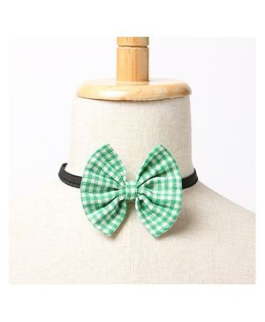 Brown Bows Buttefly Bow Tie Checks Print - Green