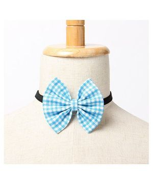 Brown Bows Buttefly Bow Tie Checks Print - Blue
