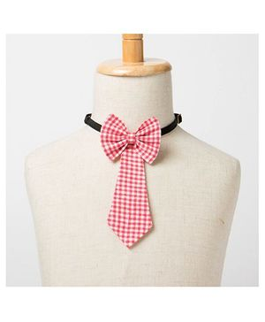 Brown Bows Tail Down Bow Tie Checks Print - Red