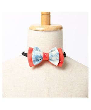 Brown Bows Batwing Bow Tie - Orange and White