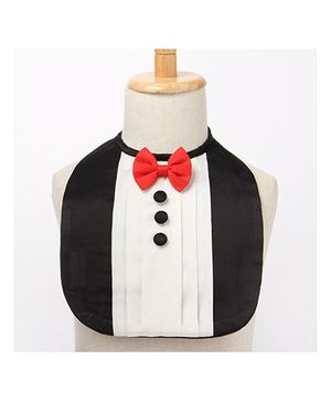 Brown Bows Drool Bib Tuxedo Style - Black and White