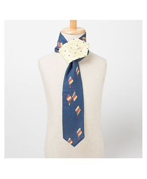 Brown Bows Scarf Style Tie - Navy