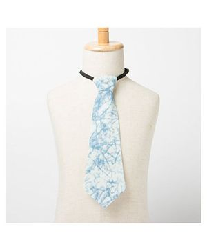 Brown Bows Printed Tie - Blue And White