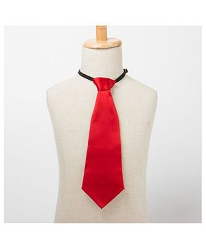 Brown Bows Plain Tie - Red